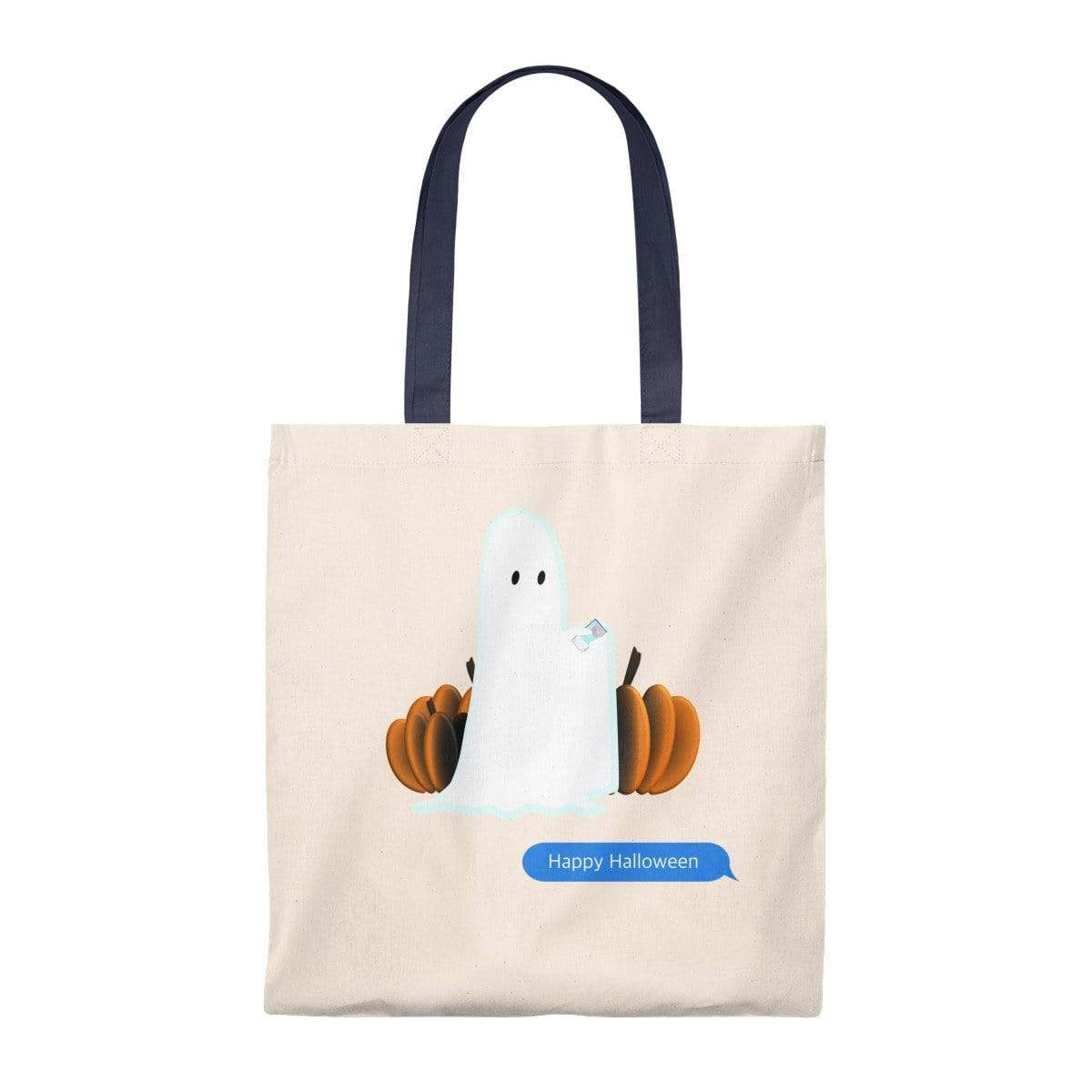 Printify Bags Natural/Navy / Small Funny Halloween Ghost on the Phone Vintage Tote Bag
