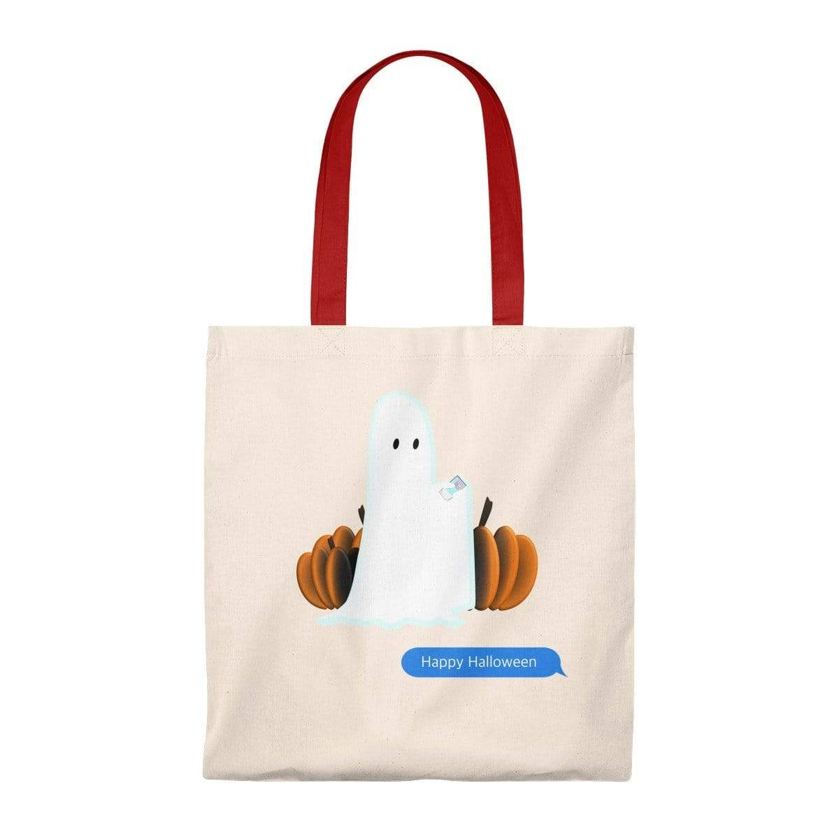 Printify Bags Natural/Red / Small Funny Halloween Ghost on the Phone Vintage Tote Bag
