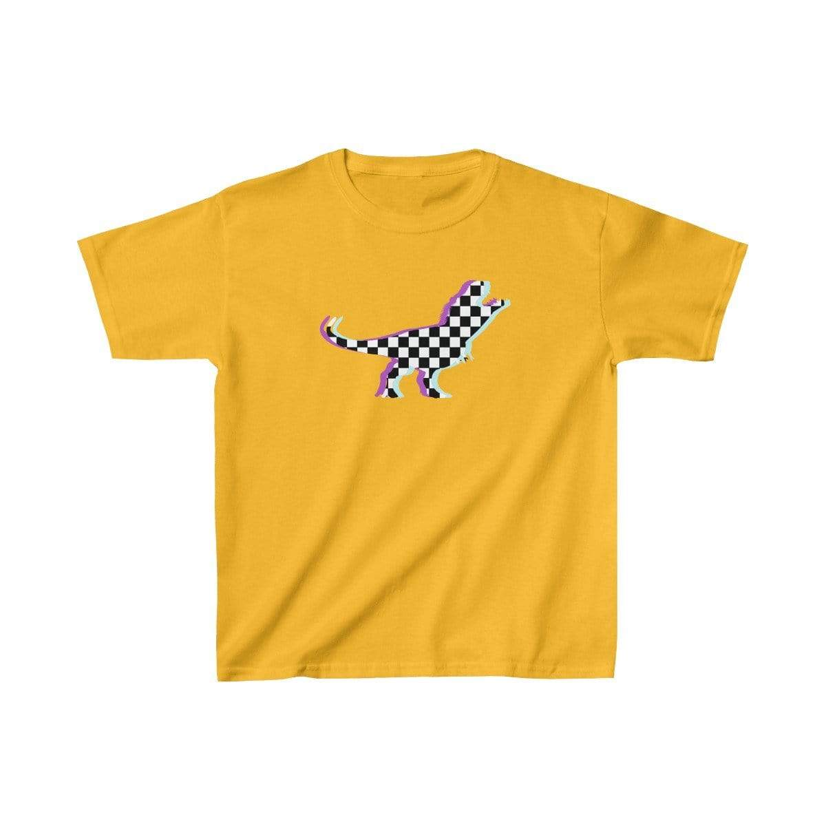 Printify Kids clothes Gold / XS Glitch Aesthetic TRex Checker T-Shirt Kids