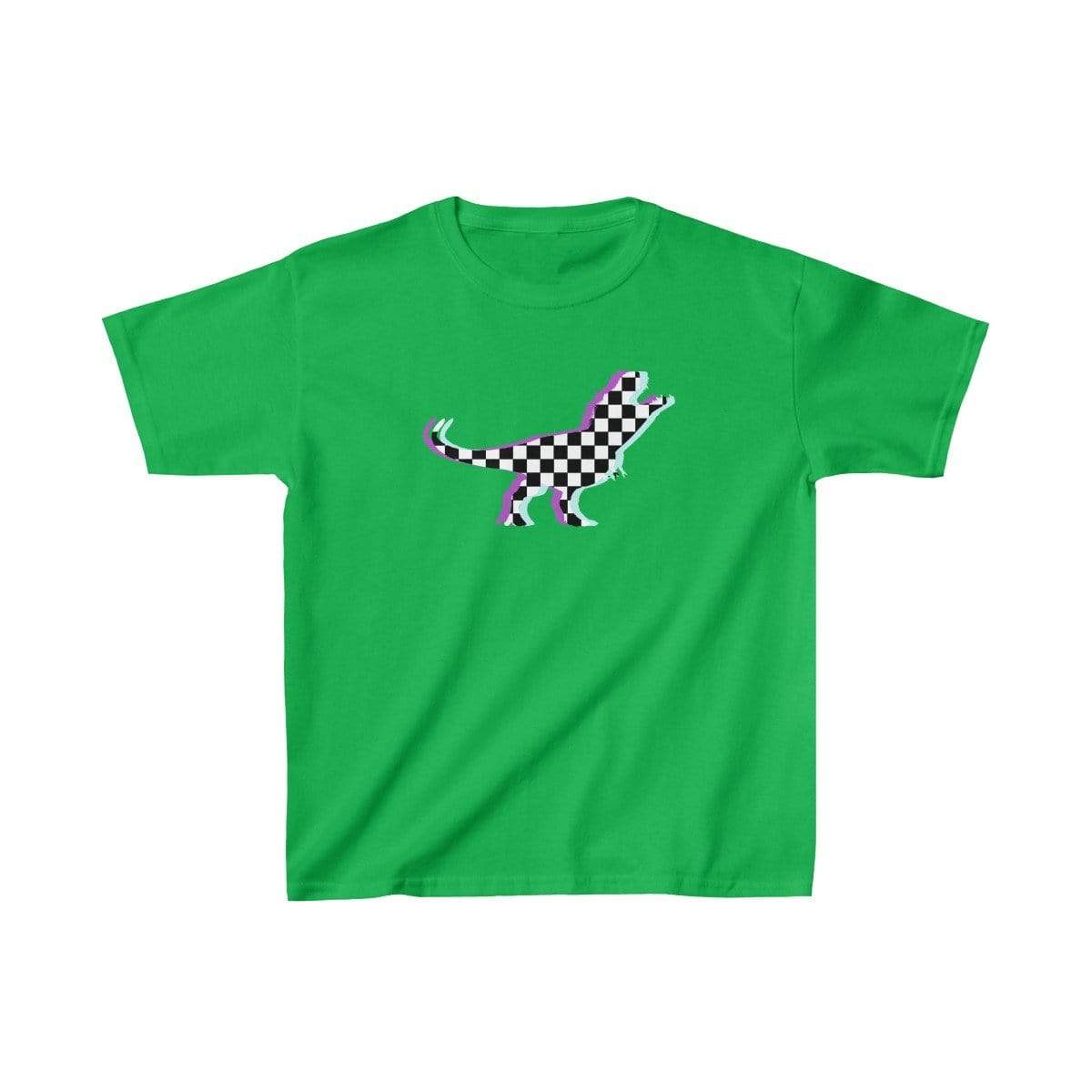Printify Kids clothes Irish Green / XS Glitch Aesthetic TRex Checker T-Shirt Kids