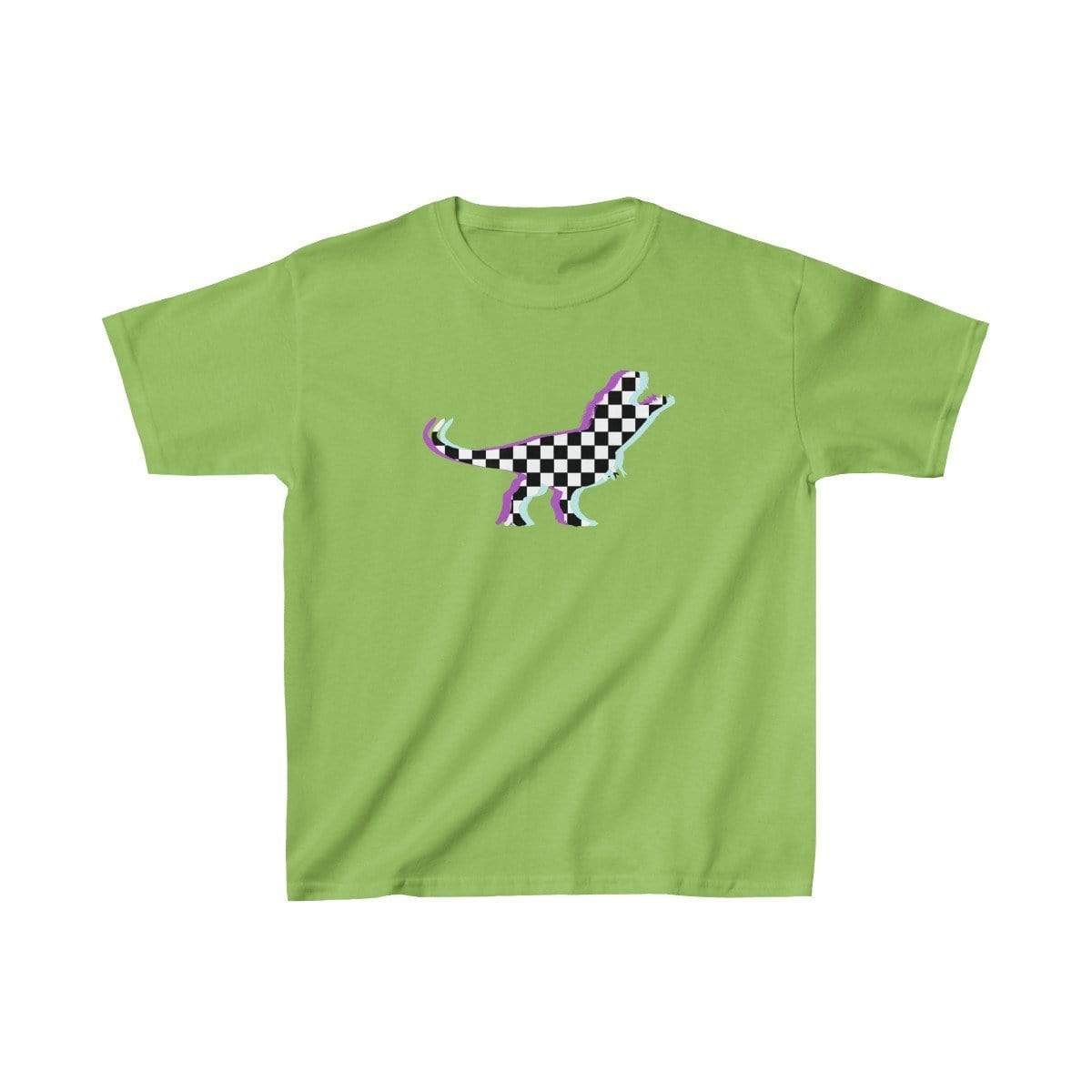Printify Kids clothes Lime / XS Glitch Aesthetic TRex Checker T-Shirt Kids