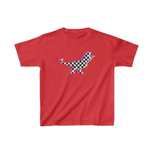 Printify Kids clothes Red / XS Glitch Aesthetic TRex Checker T-Shirt Kids