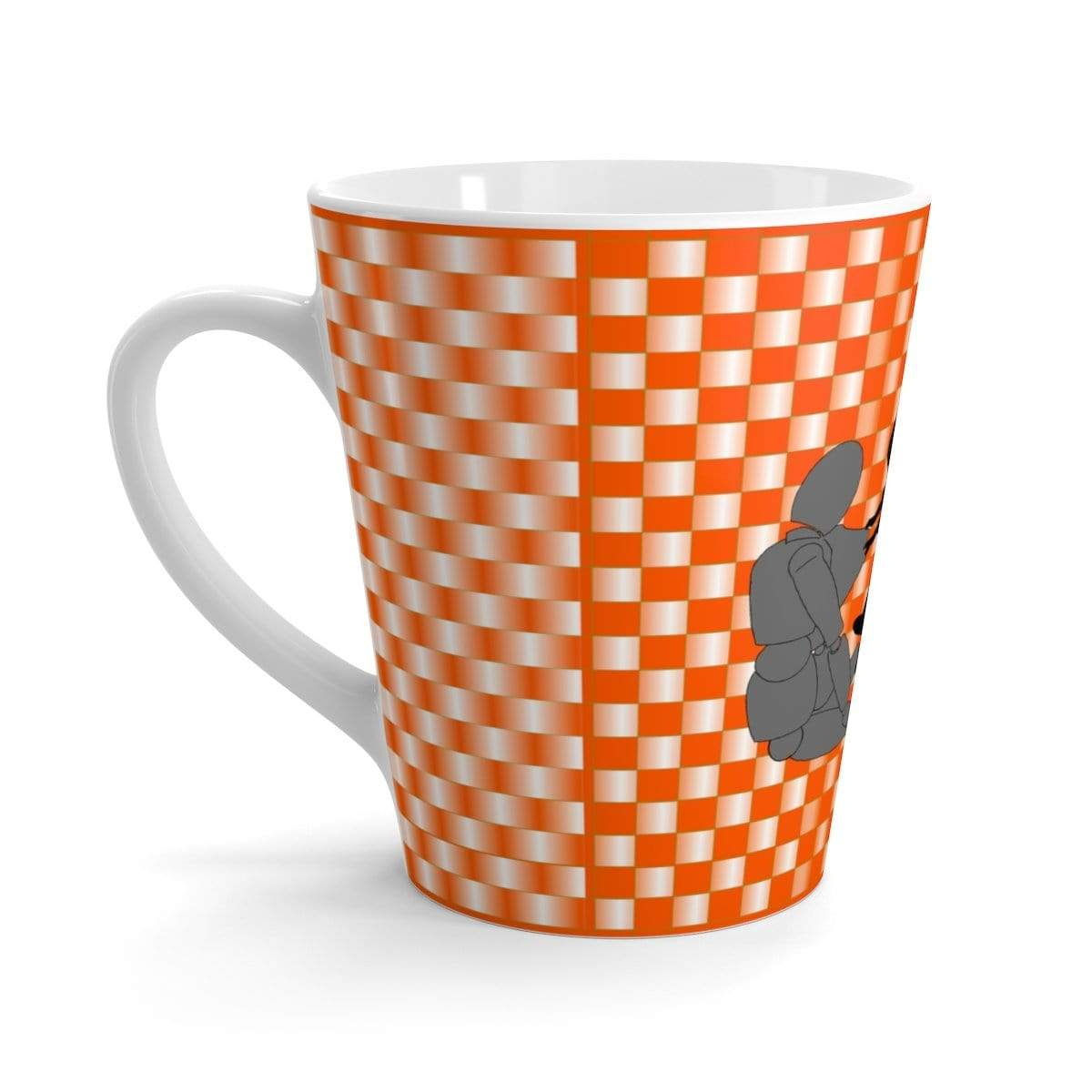 Printify Mug 12oz Coffee-Aesthetic.com - Big Orange/White Grid Latte mug