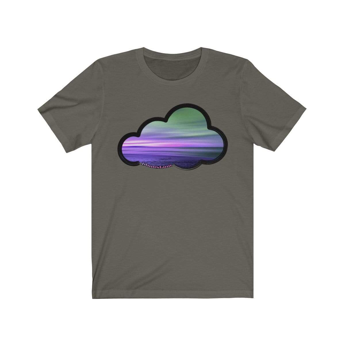 Printify T-Shirt Army / L Beaches Art Clouds Tee