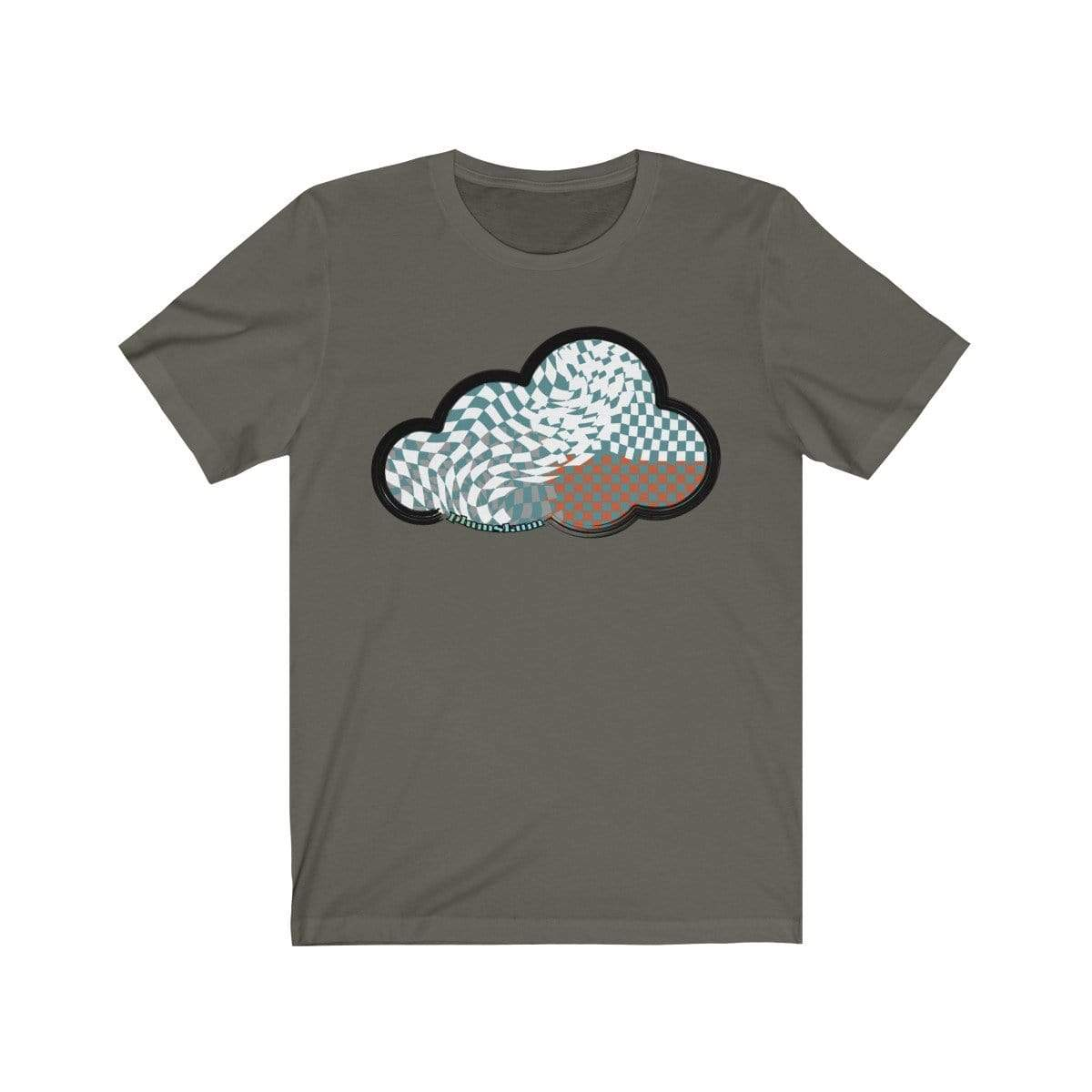Printify T-Shirt Army / L Checker Art Clouds T-Shirt