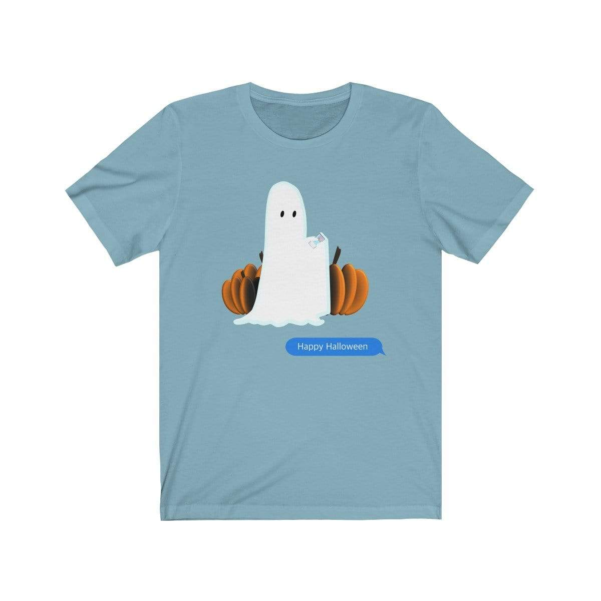 Printify T-Shirt Baby Blue / S Funny Halloween Ghost on The Phone T-Shirt