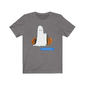 Printify T-Shirt Deep Heather / S Funny Halloween Ghost on The Phone T-Shirt