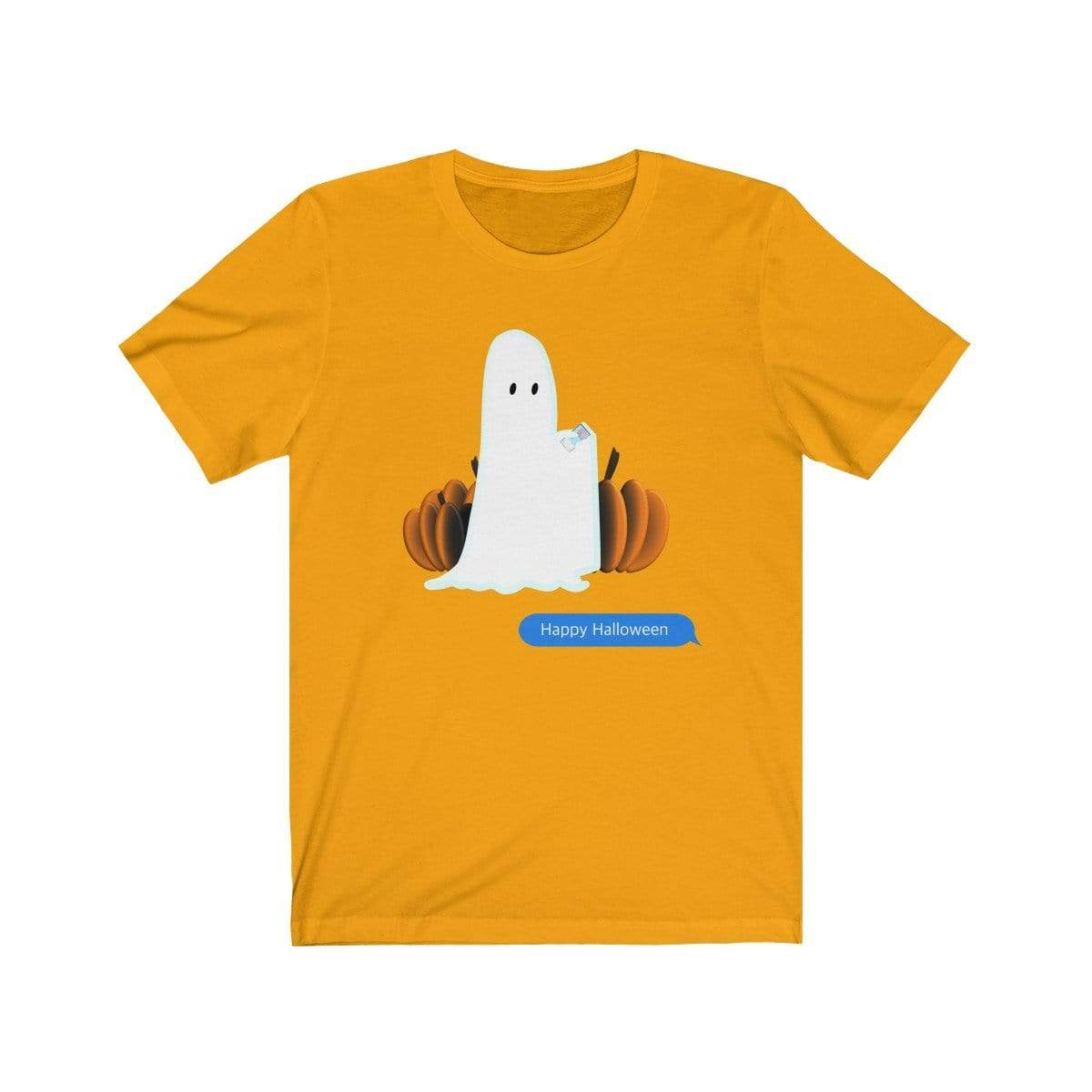 Printify T-Shirt Gold / S Funny Halloween Ghost on The Phone T-Shirt
