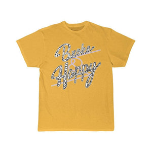 Printify T-Shirt Gold / S Positively Broke & Happy