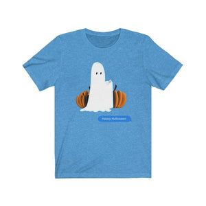 Printify T-Shirt Heather Columbia Blue / S Funny Halloween Ghost on The Phone T-Shirt