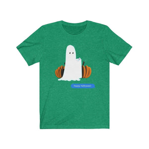 Printify T-Shirt Heather Kelly / S Funny Halloween Ghost on The Phone T-Shirt
