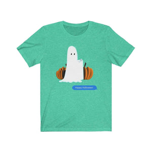 Printify T-Shirt Heather Mint / S Funny Halloween Ghost on The Phone T-Shirt