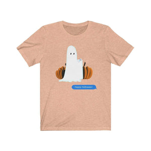 Printify T-Shirt Heather Peach / S Funny Halloween Ghost on The Phone T-Shirt