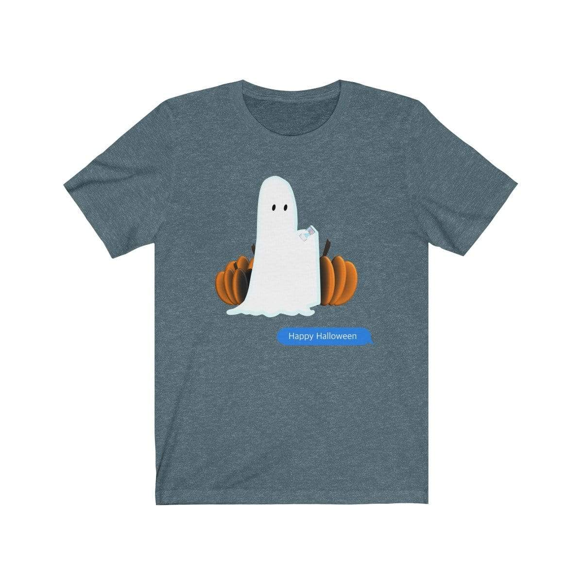Printify T-Shirt Heather Slate / S Funny Halloween Ghost on The Phone T-Shirt