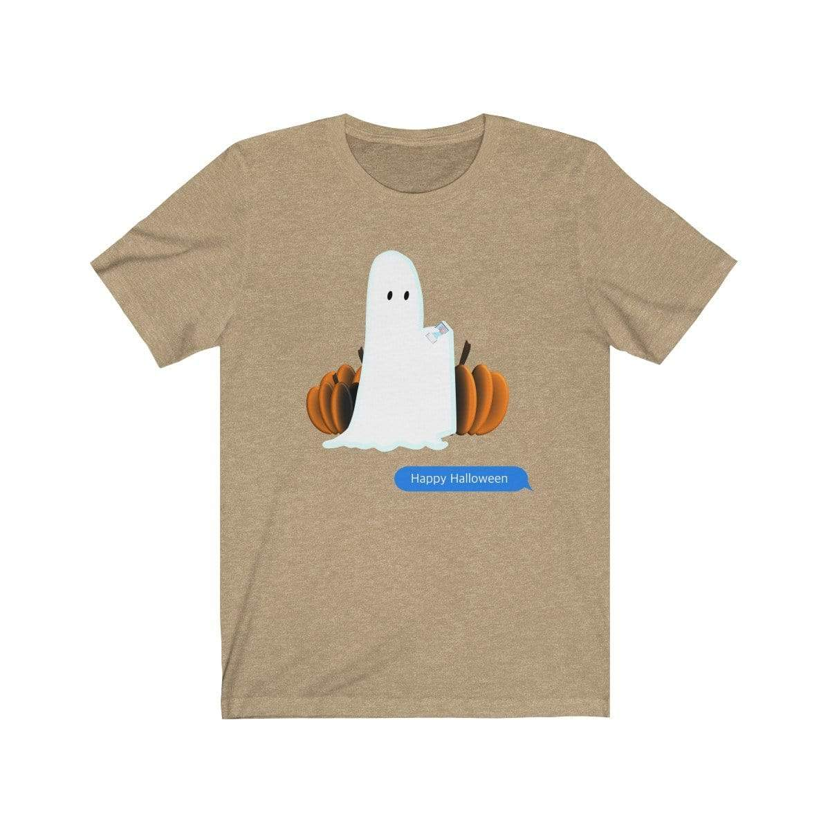 Printify T-Shirt Heather Tan / S Funny Halloween Ghost on The Phone T-Shirt