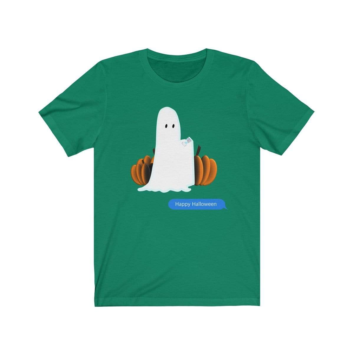 Printify T-Shirt Kelly / S Funny Halloween Ghost on The Phone T-Shirt