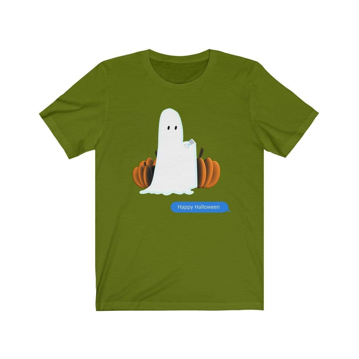 Printify T-Shirt Leaf / S Funny Halloween Ghost on The Phone T-Shirt