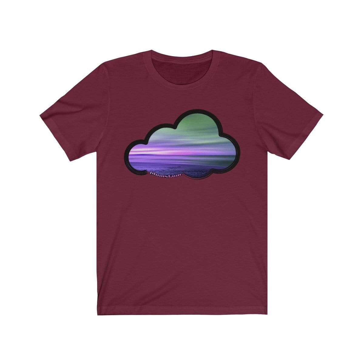 Printify T-Shirt Maroon / M Beaches Art Clouds Tee