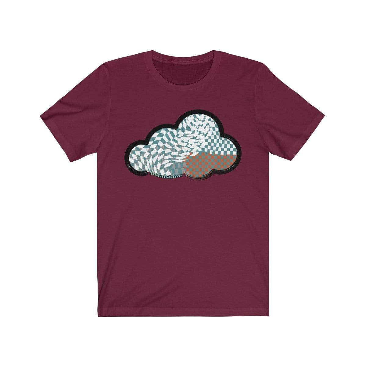 Printify T-Shirt Maroon / M Checker Art Clouds T-Shirt