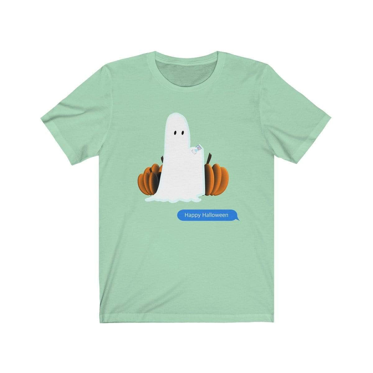 Printify T-Shirt Mint / S Funny Halloween Ghost on The Phone T-Shirt