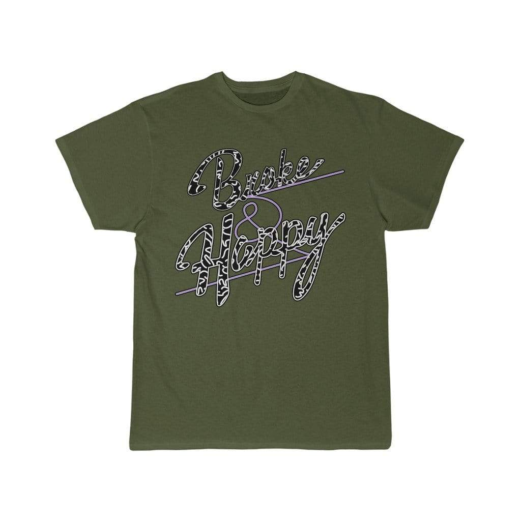Printify T-Shirt Moss / S Positively Broke & Happy