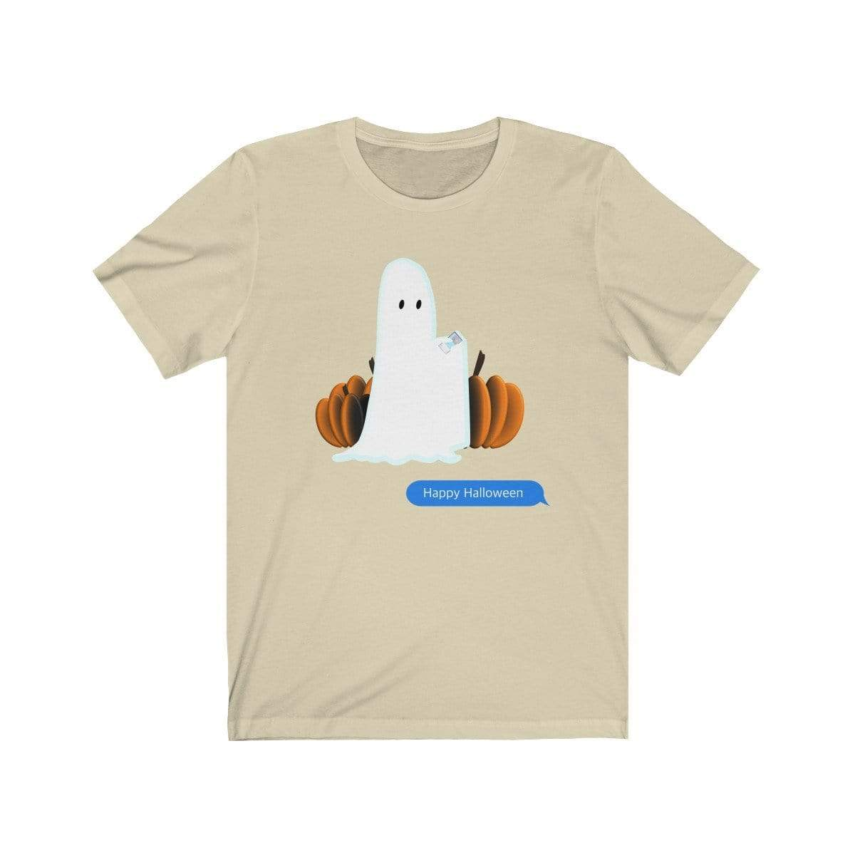 Printify T-Shirt Natural / S Funny Halloween Ghost on The Phone T-Shirt
