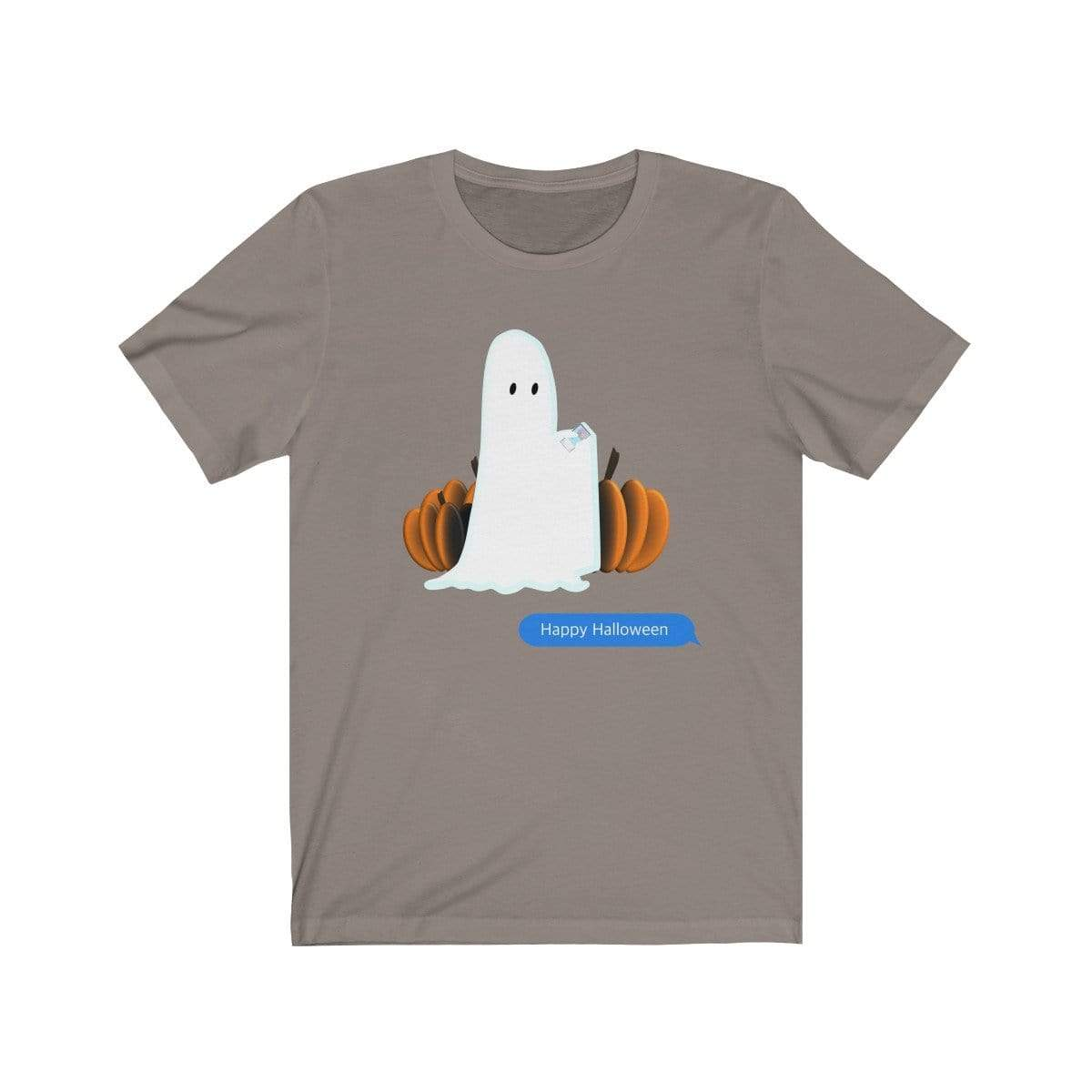Printify T-Shirt Pebble Brown / S Funny Halloween Ghost on The Phone T-Shirt