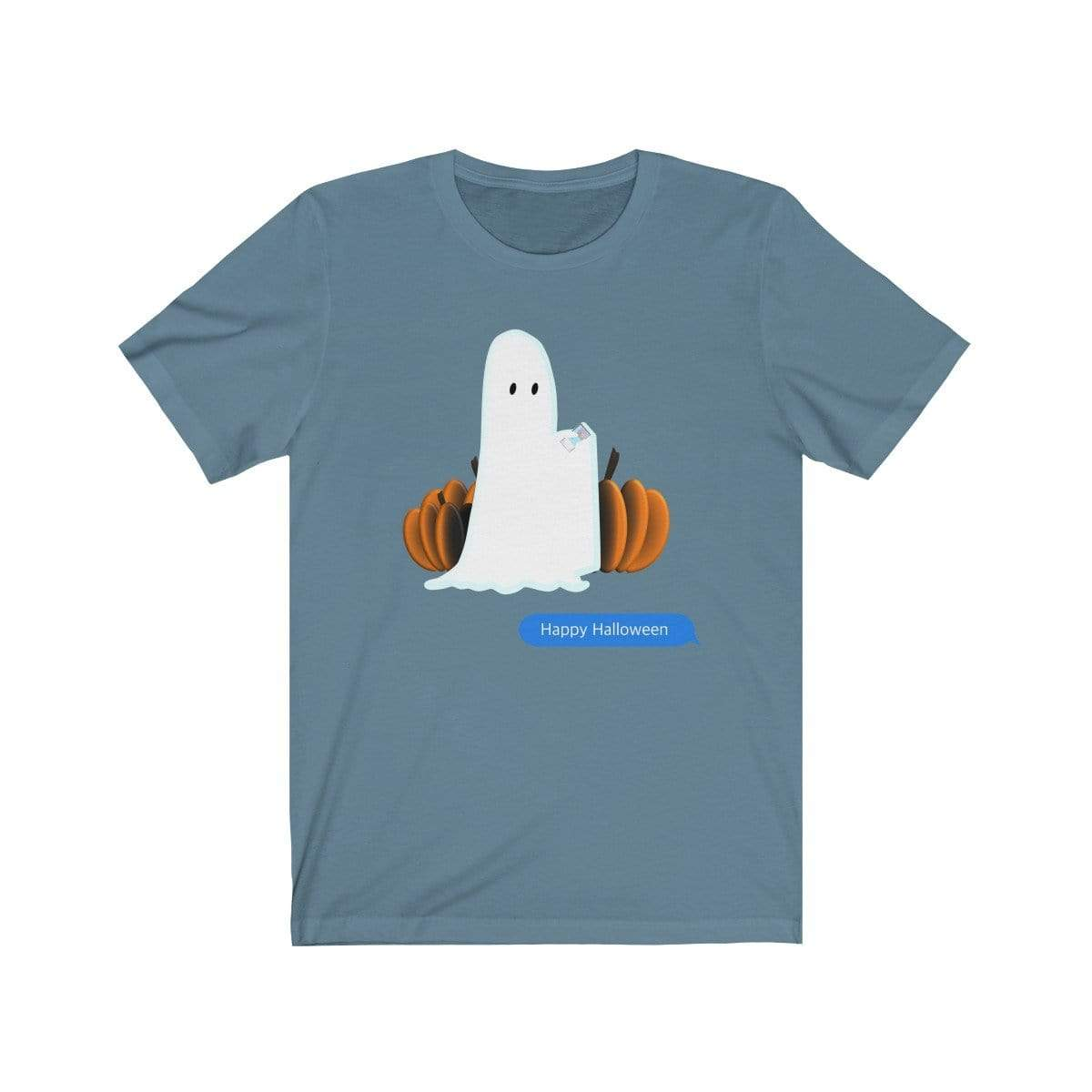 Printify T-Shirt Steel Blue / S Funny Halloween Ghost on The Phone T-Shirt