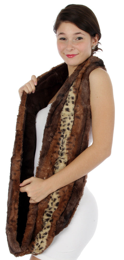 brown products slope faux stole scarf fur infinity light chic star