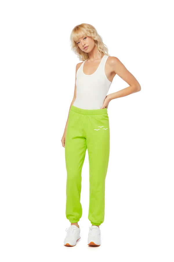 Niki Ultra-Soft Sweatpants in Green Fluo from Lazypants - always a great buy at a reasonable price.