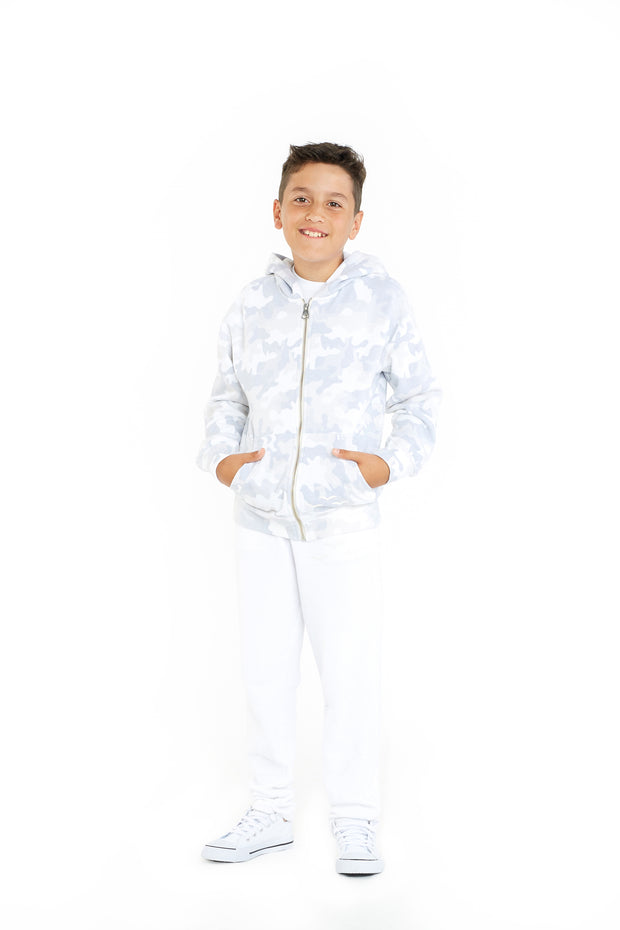 The Denver Zip Hoodie in White Camo from Lazypants - always a great buy at a reasonable price.
