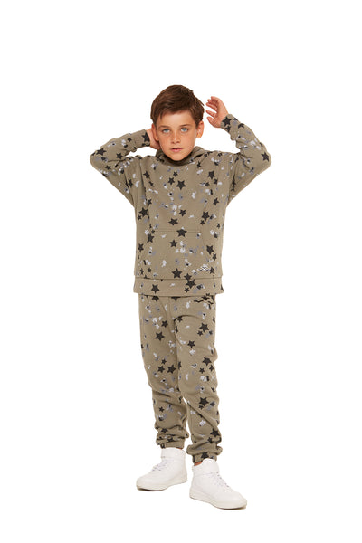 Kids Cooper Hoodie in Splatter Stars from Lazypants - always a great buy at a reasonable price.