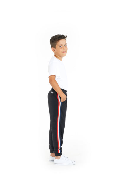 Lucas Kids Striped Jogger in Black from Lazypants - always a great buy at a reasonable price.