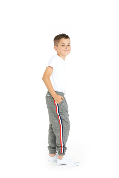 Lucas Kids Striped Jogger in Granite from Lazypants - always a great buy at a reasonable price.