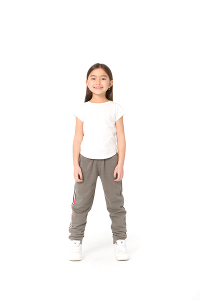 Lucas Kids Striped Jogger in Khaki from Lazypants - always a great buy at a reasonable price.