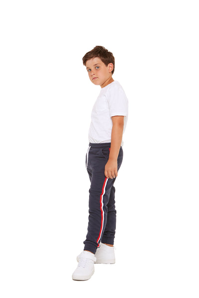 Lucas Kids Striped Jogger in Navy from Lazypants - always a great buy at a reasonable price.