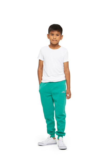 Charlie Kids Slim Jogger in Peacock Green from Lazypants - always a great buy at a reasonable price.