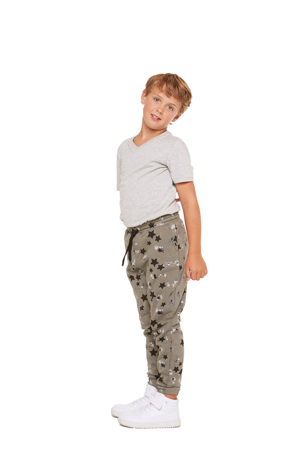 Charlie Kids Slim Jogger in Splatter Stars from Lazypants - always a great buy at a reasonable price.