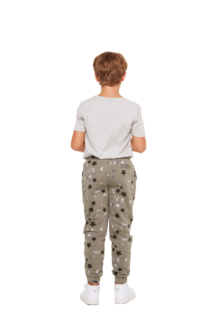 The Charlie Slim Jogger in Splatter Stars from Lazypants - always a great buy at a reasonable price.