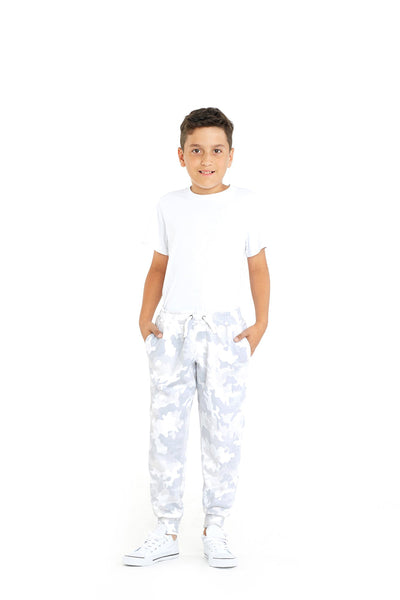 Charlie Kids Slim Jogger in White Camo from Lazypants - always a great buy at a reasonable price.