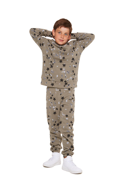 Kids Niki and Cooper fleece set in splatter stars from Lazypants - always a great buy at a reasonable price.
