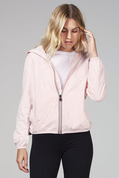 Full-zip packable rain jacket in baby pink from Lazypants - always a great buy at a reasonable price.