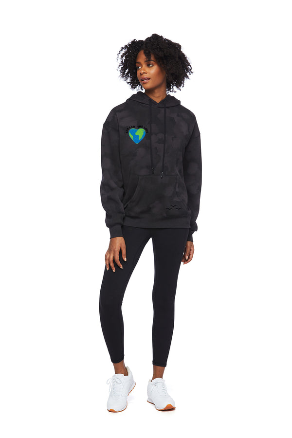 Chloe Earth Day Hoodie in Black Sponge from Lazypants - always a great buy at a reasonable price.