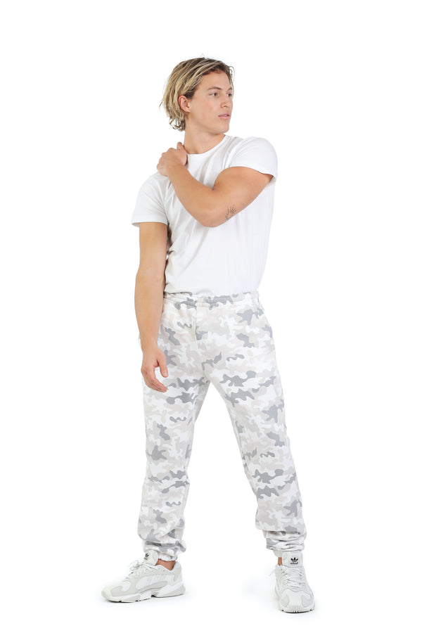 Men's jogger in White camo from Lazypants - always a great buy at a reasonable price.