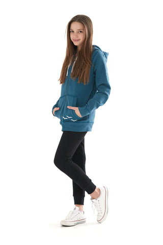 THE ADDISON HOODIE IN TEAL