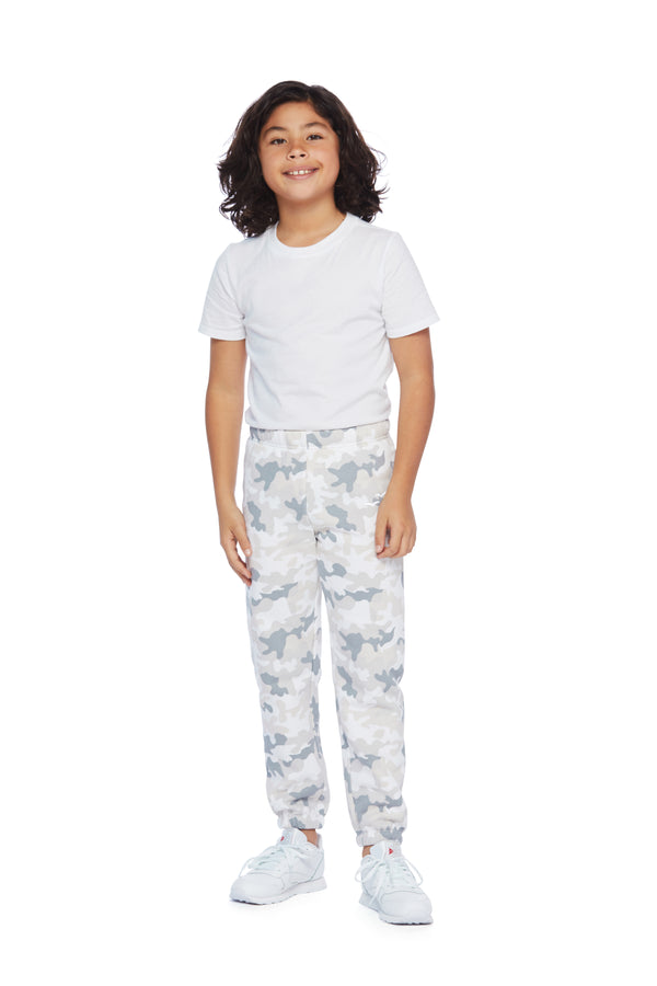 Niki Original kids sweatpants in white camo from Lazypants - always a great buy at a reasonable price.
