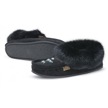 Black Fur Trim Moccasin with Crepex Sole