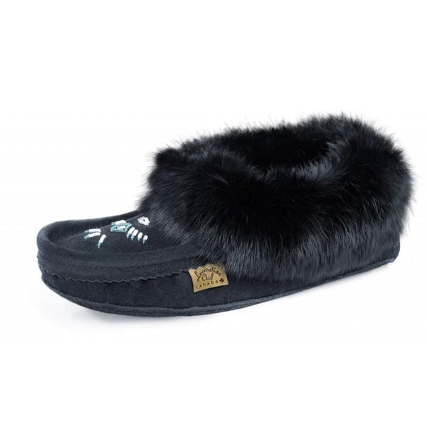 Black: Fur Trimmed Moccasin