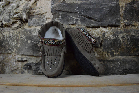 "Womens: Moccasins Grey 6""inch"