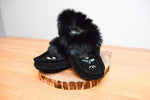 Fur Trimmed Moccasin - Black